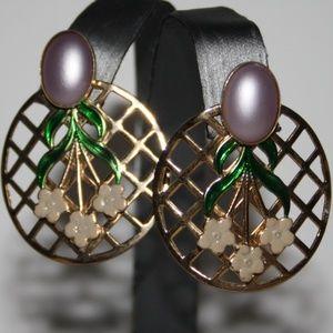 Vintage gold and purple flower post earrings